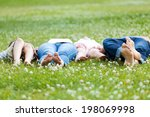 portrait of happy young family... | Shutterstock . vector #198069998