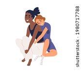 couple of young women hugging....   Shutterstock .eps vector #1980717788