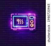 microwave neon sign. vector...   Shutterstock .eps vector #1980720965