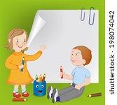 children with pencils   vector... | Shutterstock .eps vector #198074042