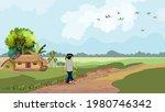 a man is walking along the... | Shutterstock .eps vector #1980746342