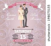 retro wedding invitation with...   Shutterstock .eps vector #198075155