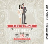 retro wedding invitation with... | Shutterstock .eps vector #198075185