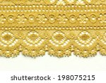 yellow lace material texture... | Shutterstock . vector #198075215