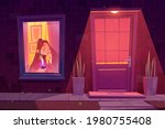 lonely sad girl sitting alone... | Shutterstock .eps vector #1980755408