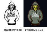 Alien In Hoodie Two Styles...