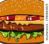 cartoon burger. cheeseburger or ... | Shutterstock .eps vector #1980863825