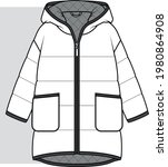 coat  fashion flat sketch.... | Shutterstock .eps vector #1980864908