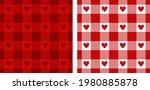 heart gingham patterns in red ... | Shutterstock .eps vector #1980885878