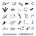 vector set of hand drawn arrows ... | Shutterstock .eps vector #1980889415