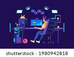 gamer room  modern technology . ... | Shutterstock .eps vector #1980942818