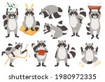 raccoons cute animal vector...   Shutterstock .eps vector #1980972335