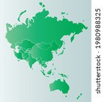 map of asia pacific in green... | Shutterstock .eps vector #1980988325
