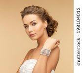 beautiful bride wearing pearl... | Shutterstock . vector #198104012