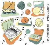 music player  vintage vinyl...   Shutterstock .eps vector #1981062848
