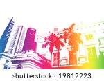 rainbow trendy and modern city... | Shutterstock . vector #19812223