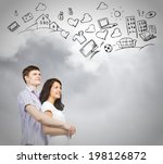 young couple hugging each other ... | Shutterstock . vector #198126872