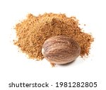 Pile Of Whole Nutmeg Seed And...