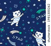 seamless pattern with cute cat... | Shutterstock .eps vector #1981300262