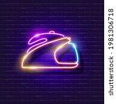 steamer iron neon sign. vector...   Shutterstock .eps vector #1981306718