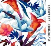 seamless tropical flower  plant ... | Shutterstock . vector #198135896