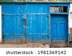 Old Wooden Gate. Old Blue Worn...