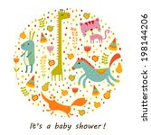children greeting card or baby... | Shutterstock . vector #198144206