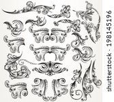 vector set of calligraphic... | Shutterstock .eps vector #198145196