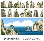 set of rocks  cliffs  mountains ... | Shutterstock .eps vector #1981478798