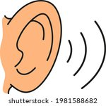 ear line icon and beige color.... | Shutterstock .eps vector #1981588682
