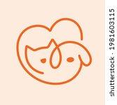 cute dog and cat inside heart... | Shutterstock .eps vector #1981603115
