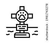 grave pet with cross line icon... | Shutterstock .eps vector #1981743278