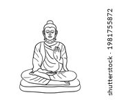 black line drawing buddha.vesak ... | Shutterstock .eps vector #1981755872