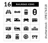 set icons of railroad and train ... | Shutterstock .eps vector #198176318