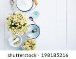 chamomile flowers  white enamel ... | Shutterstock . vector #198185216