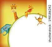 parrot  giraffe  elephant and... | Shutterstock .eps vector #198186242