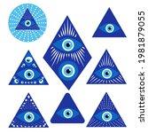 evil eye amulet set isolated in ... | Shutterstock .eps vector #1981879055