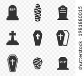 set of tomb simple vector icons ...   Shutterstock .eps vector #1981880015