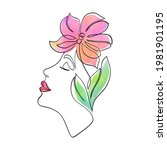 minimal woman face with... | Shutterstock .eps vector #1981901195