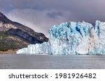Amazing view of Perito Moreno glacier, blue ice burg glacier in Los Glaciares National Park, Santa Cruz, southern Patagonia, Argentina, South America.