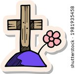 hand drawn tomb stone icon in...   Shutterstock .eps vector #1981935458