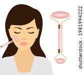 female face and jade roller... | Shutterstock .eps vector #1981994222