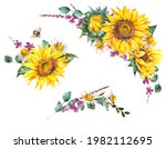 set of watercolor sunflowers...   Shutterstock . vector #1982112695