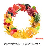 fruit and berries circle frame. ... | Shutterstock .eps vector #1982116955