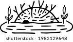 hand drawn beaver lodge. dam...   Shutterstock .eps vector #1982129648