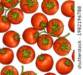 tomato sketch pattern. tomatoes ... | Shutterstock .eps vector #1982196788