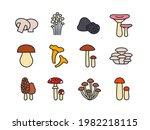 mushrooms icon set. vector... | Shutterstock .eps vector #1982218115