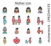 mother icon set filled outline... | Shutterstock .eps vector #1982244155