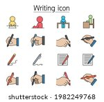 writing icon set filled outline ... | Shutterstock .eps vector #1982249768