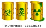 yellow barrels with warning... | Shutterstock .eps vector #198228155